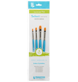 Princeton Select Artiste, Mixed-Media Brushes for Acrylic, Oil, Watercolor Series 3750, 4 Piece Value Set 111