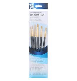 Princeton Brush Real Value 6-Brush Golden Taklon Brush Set, Round 1, 3, 5, Shader 2, 4, 6 (LH)