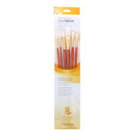 Princeton Brush Real Value 6-Brush White Taklon Brush Set, Round 2, 6, Flat 10, Angle Shader 4, Filbert 4, Fan 2