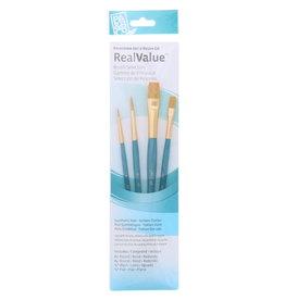 Princeton Brush Real Value 4-Brush Golden Taklon Brush Set, Round 1, 4, Wash 1/4, Flat 1/2