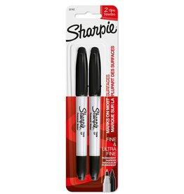 SHARPIE Sharpie Twin Tip, Black, 2 Pack