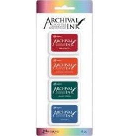 Ranger Ink Archival Mini Ink Pads Kit 1: Vermillion, Monarch Orange, Library Green & Cobalt