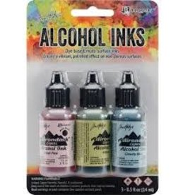 Ranger Ink Tim Holtz Alcohol Ink Countryside:  Shell Pink, Willow & Clody Blue