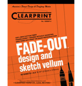 Clearprint 1000H Fade-Out Design and Sketch Vellum 4x4 Grid 8.5x11 pack of 50 sheets