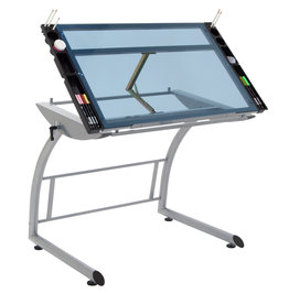 Triflex Drawing Table (Silver/Blue Glass)