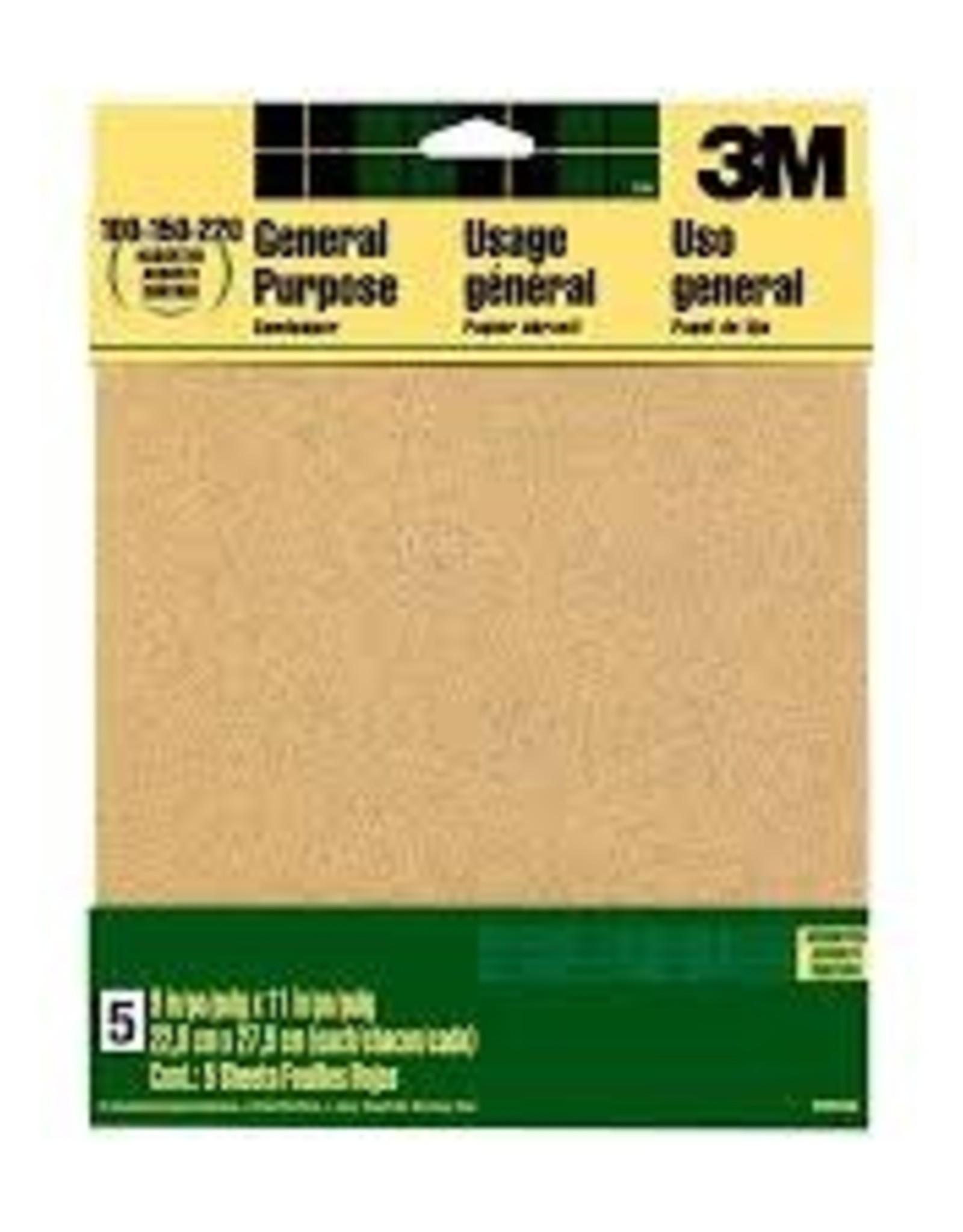 Three M 3M Aluminum Oxide Sandpaper 9''x11'' Assorted Grit 5/pk