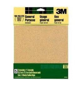 Three M 3M Aluminum Oxide Sandpaper,9 in x 11 in, Assorted Grit, 5/pk