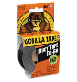 "Gorilla Glue Gorilla Tape, Mini Duct Tape To-Go, 1"" x 10 yd Travel Size, Black"