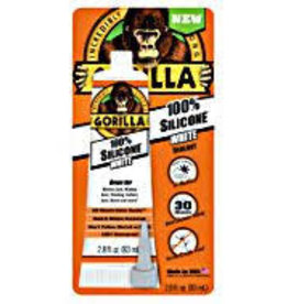Gorilla Glue Gorilla 100 Percent Silicone Sealant Caulk, 2.8 ounce Squeeze Tube, Clear