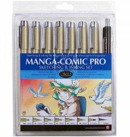 Sakura Pigma Manga Comic Pro Drawing Kit 8 Pc Set