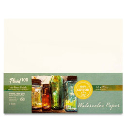 "SPEEDBALL ART PRODUCTS Fluid 100 Hot Press Watercolor Paper, 16"" X 20"", 5 sht, 140 lb"