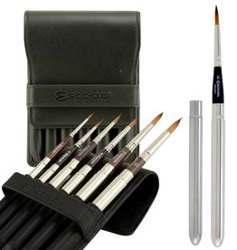 Escoda Escoda Prado Travel Watercolor Brushes, Sizes # 2, # 4, # 6, # 8, # 10 & # 12 in a black leather wallet