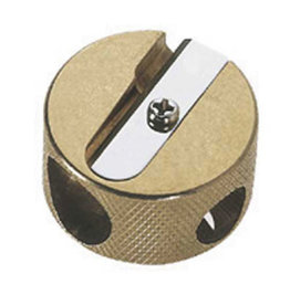 Mobius & Ruppert Brass Round Double-Hole Pencil Sharpener Stubby