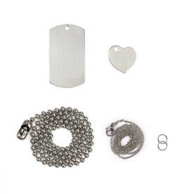 ImpressArt ImpressArt Dog Tag & Heart Necklace Set