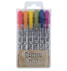Ranger Ink Tim Holtz® Distress Crayons Set #2 (Festive Berries/Rusty Hinge/Fossilized Amber/Peeled Paint/Chipped Sapphire/Seedless Preserves)