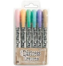 Ranger Ink Tim Holtz® Distress Crayons Set #5 (Spun Sugar/Dried Marigold/Cracked Pistachio/Tumbled Glass/Shaded Lilac/Frayed Burlap)