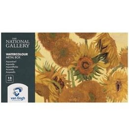 Royal Talens National Gallery Van Gogh Watercolour Metal Tin Pocket Box 12 Pan