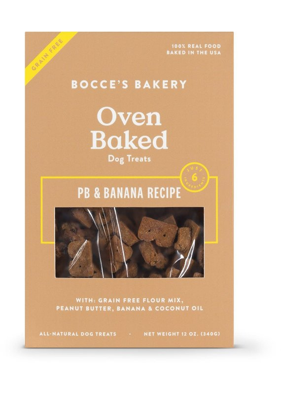 Bocce's Bakery Bocce's Bakery Grain-Free Oven Baked PB & Banana Recipe Dog Biscuits Treats 12-oz