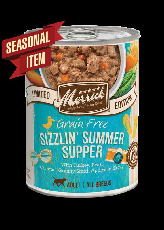 Merrick Merrick Grain-Free Sizzlin' Summer Supper in Gravy Seasonal Recipe Canned Wet Dog Food 12.7-oz