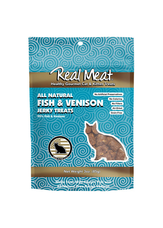 The Real Meat Company Real Meat Air-Dried Fish & Venison Cat Treats 3-oz