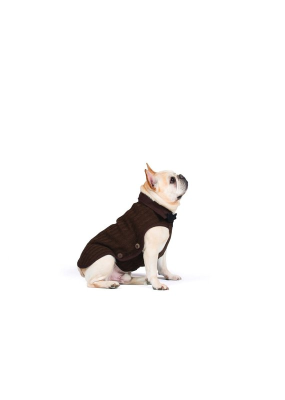 D.GS Pet Products Dog Gone Smart Brown Nano Knit Dog Sweater