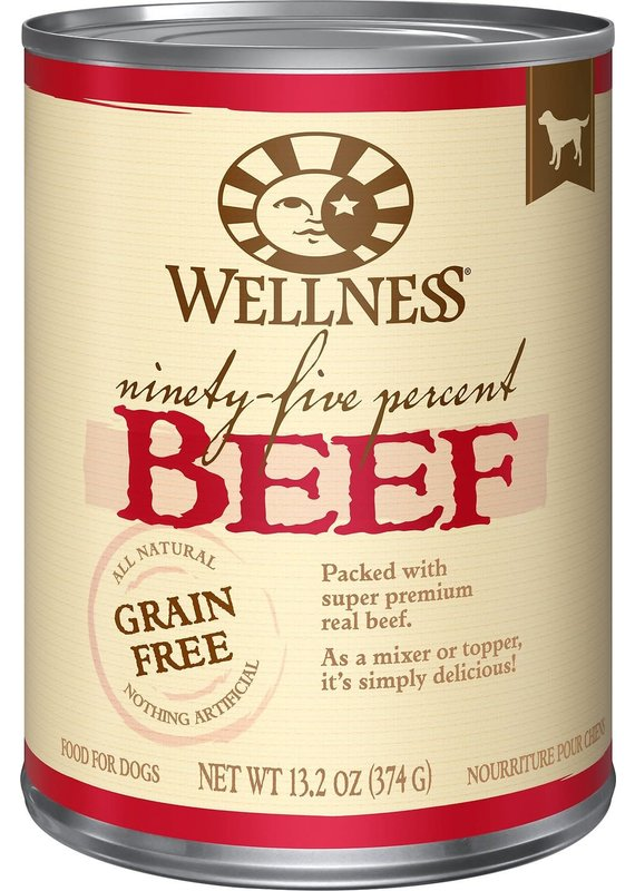 Wellness Wellness Ninety-Five Percent Beef Mixer or Topper Wet Canned Dog Food 13.2-oz
