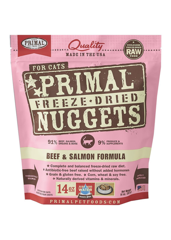 Primal Primal Freeze-Dried Nuggets Grain-Free Beef & Salmon Formula Cat Food 14-oz