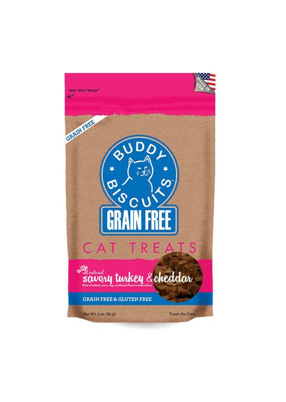 Buddy Biscuits Buddy Biscuits Grain-Free Savory Turkey & Cheddar Cat Treats 3-oz