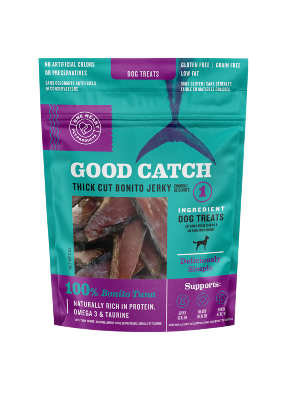 One Heart Pet Products One Heart Pet Products Good Catch Thick Cut Bonito Tuna Dog Jerky Treats 3-oz