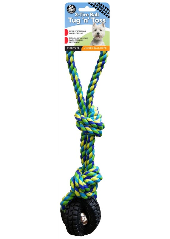 Pet Qwerks Pet Qwerks Jingle X-Tire Ball with Knotted Rope Tug 'n Toss Dog Toy