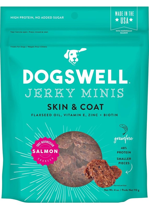 Dogswell Dogswell Jerky Minis Skin & Coat Salmon Jerky Dog Treats 4-oz