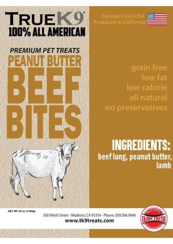 True K9 Dog Treats True K9 Peanut Butter Beef Bites Jerky Dog Treats 8-oz