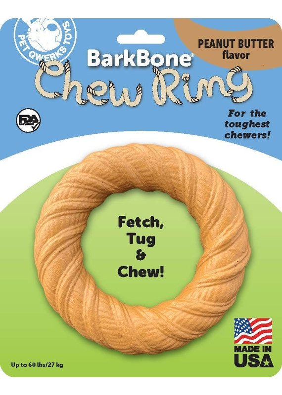 Pet Qwerks Pet Qwerks BarkBone Chew Ring with Peanut Butter Flavor Dog Chew Toy Large