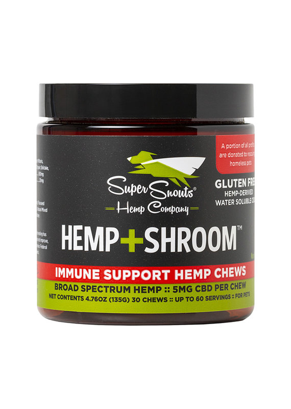 Super Snouts Super Snouts Grain-Free Hemp + Shroom Chews Immune Support Broad Spectrum Hemp Supplement for Dogs & Cats 30-Count