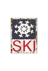 Affiche « Ski » en bois