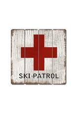 Affiche « Ski Patrol » vintage en bois
