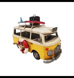 Westfalia jaune avec surf et bagages