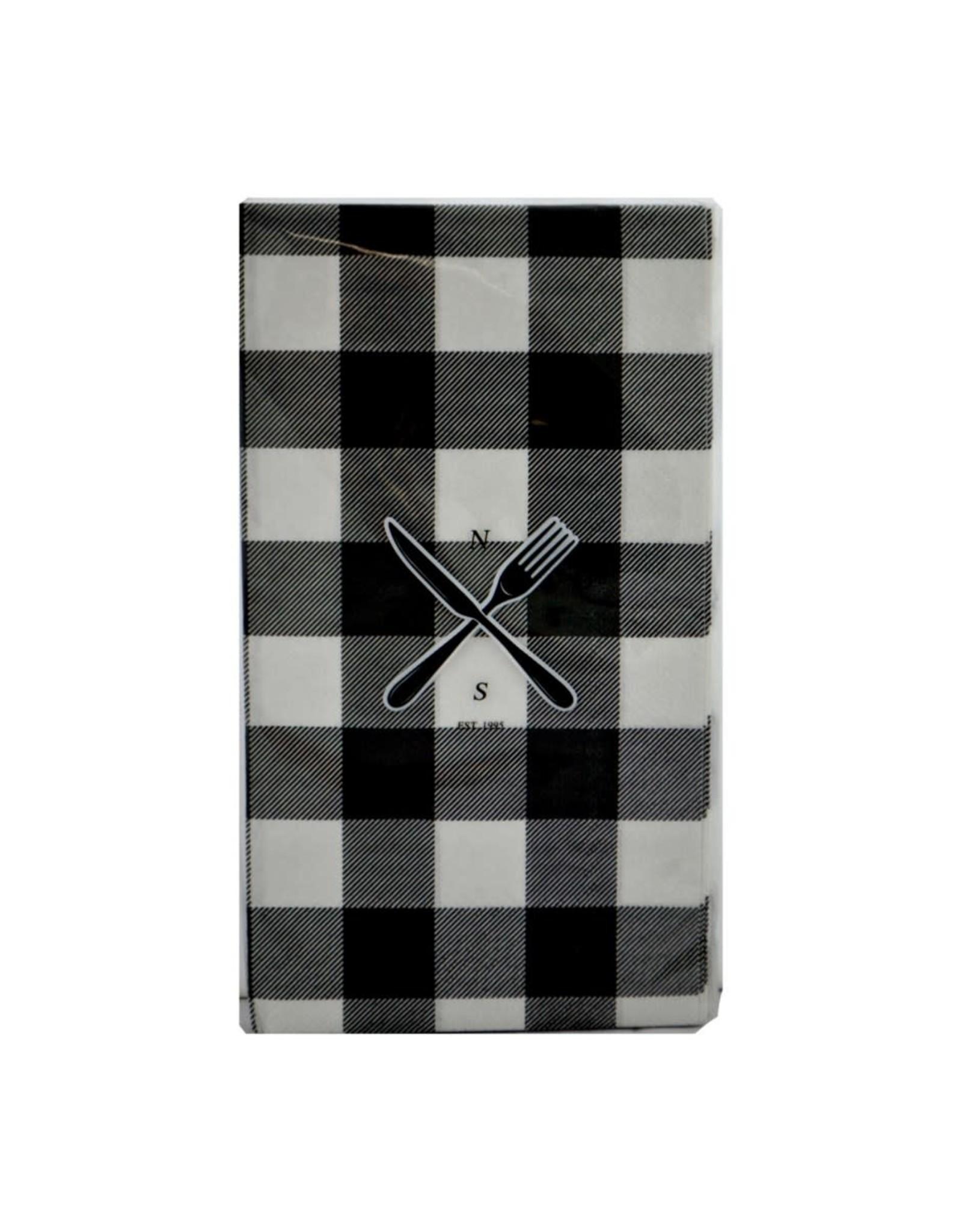 Serviettes de table - Carreaux noirs et blancs 10 pcs