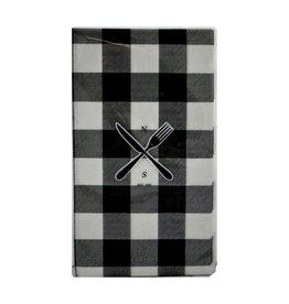 Serviettes de table carreaux noirs et blancs 10 pcs
