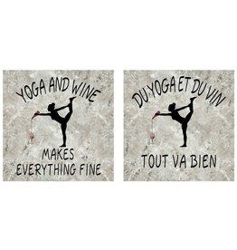 Affiche « Du yoga et du vin tout va bien » réversible