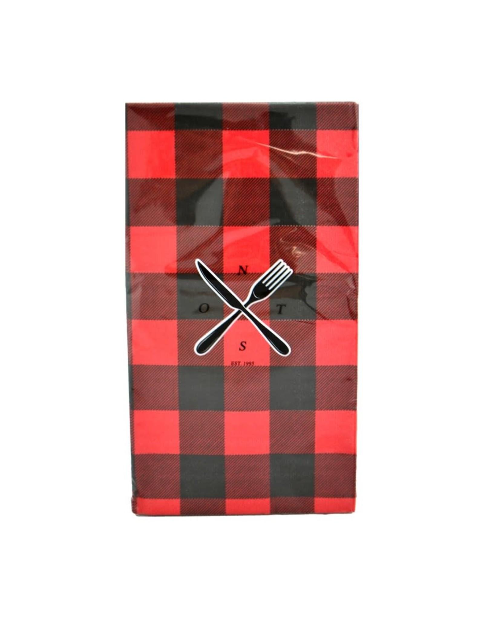 Serviettes de table carreaux noirs et rouges 10 pcs