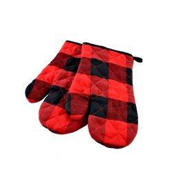 Mitaines de four noires et rouges (Lumberjack)