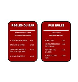 Affiche « Règles du bar » réversible
