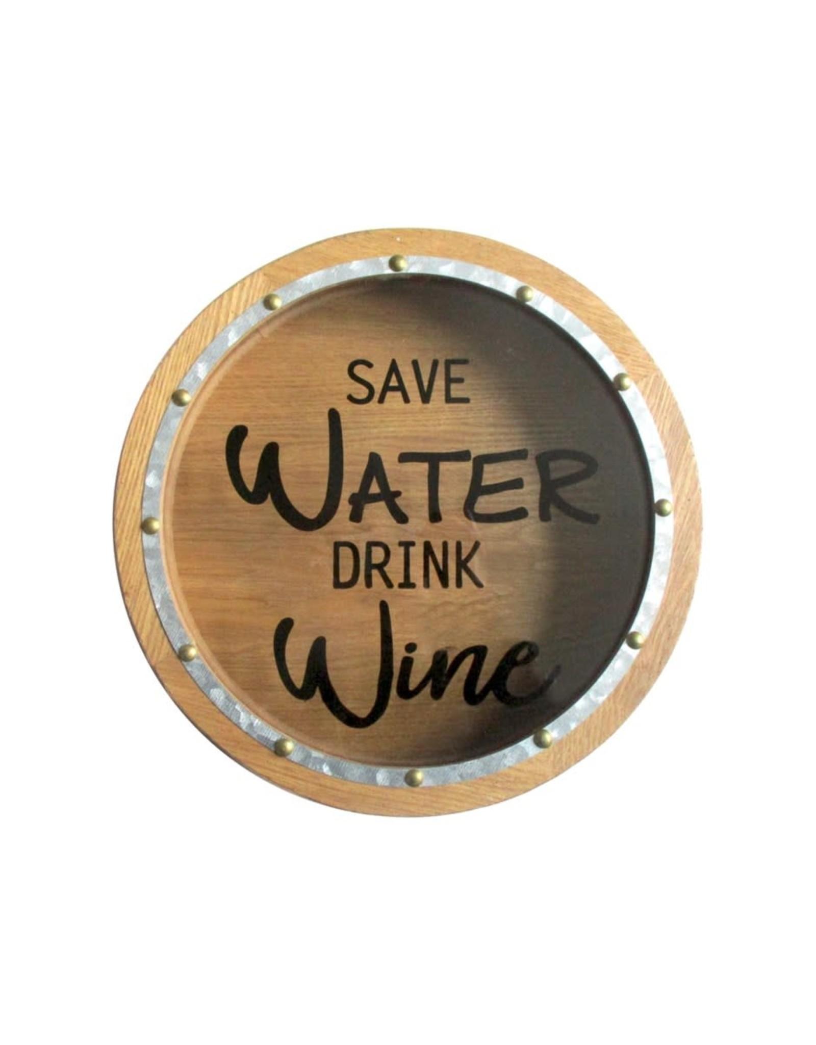 Boîte à bouchons de vin « Save water drink wine »