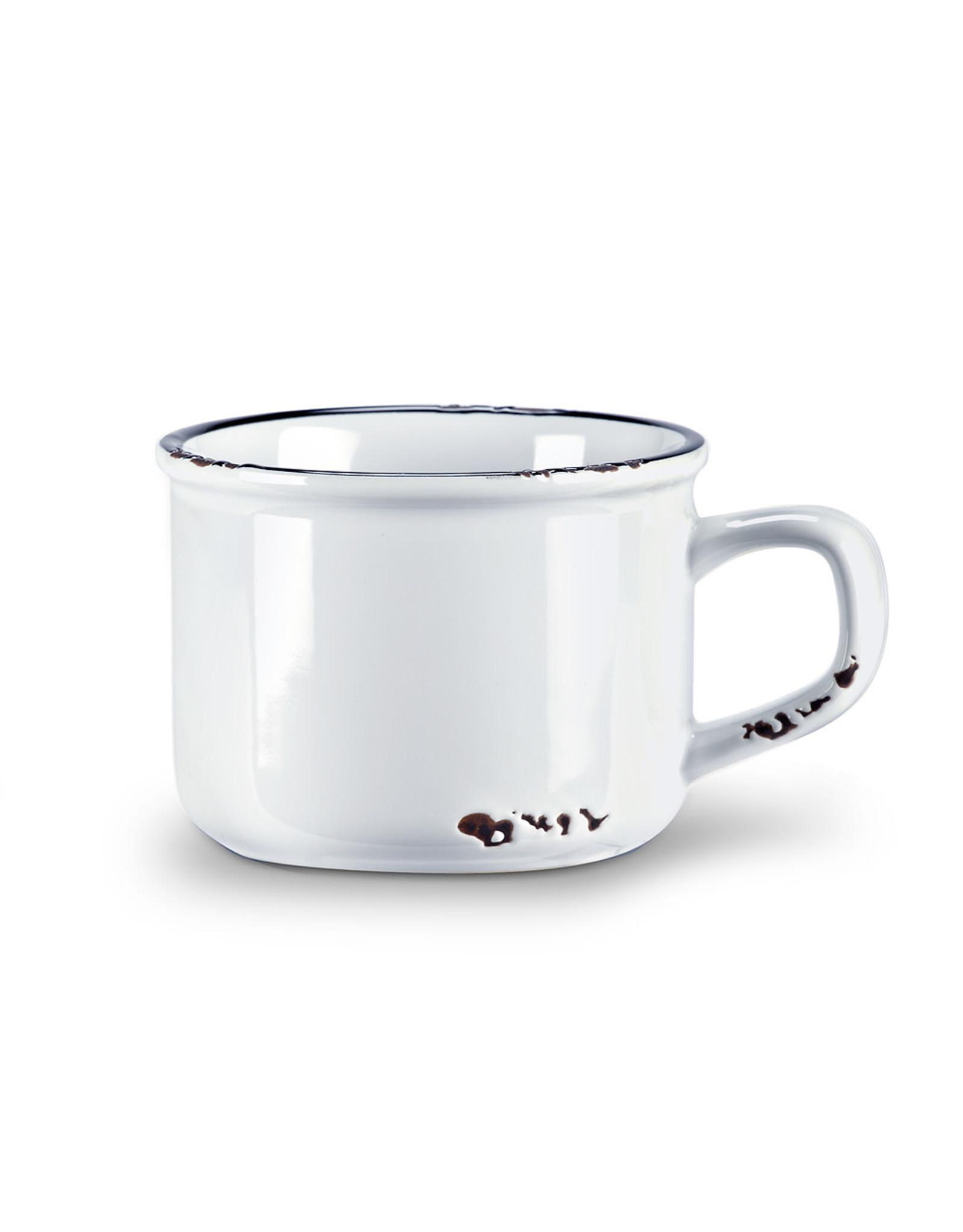Tasse cappuccino blanche en grès (8 oz)