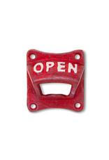 Ouvre-bouteille  « OPEN » rouge antique