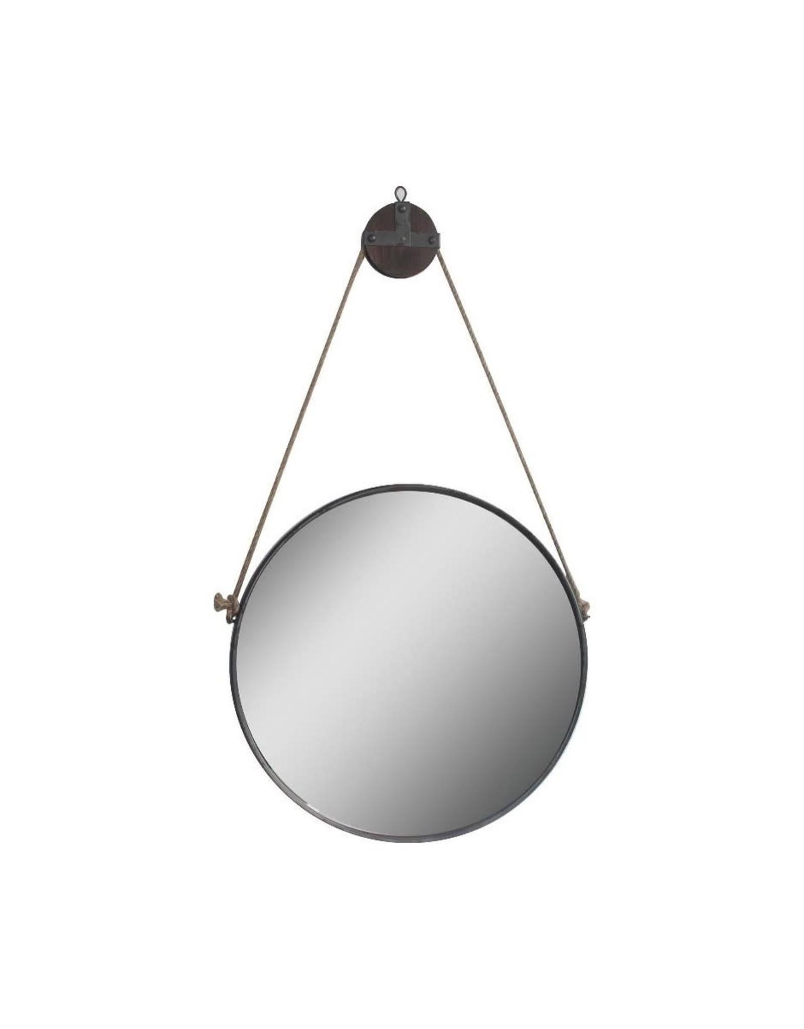 Miroir Accent rond galvanisé avec cordage