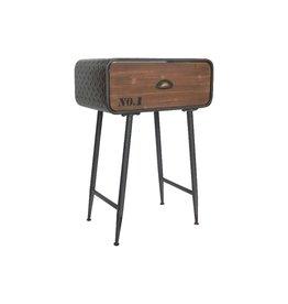 Table  de chevet métal/bois avec tiroir