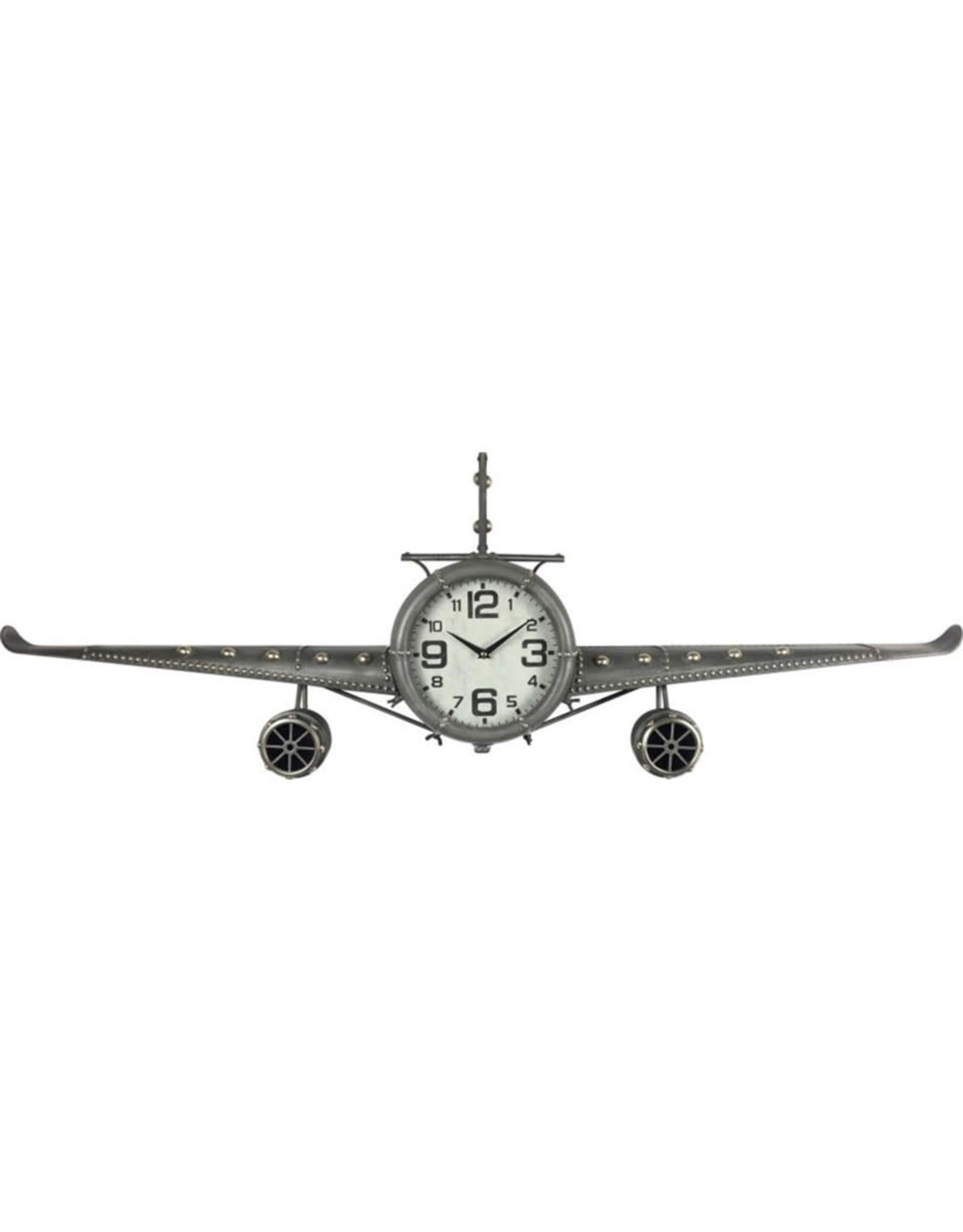 Horloge avion grise murale