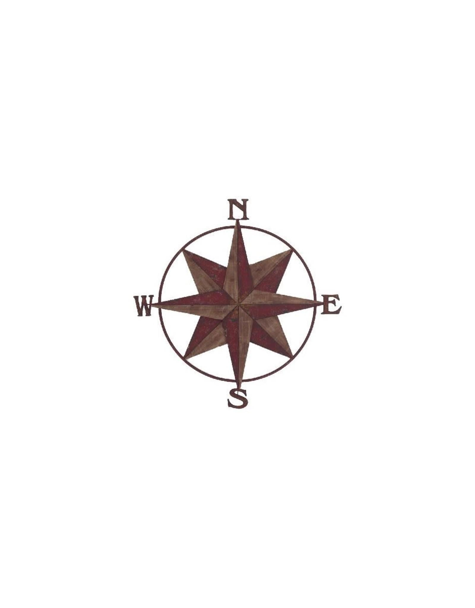 Rose des vents rouge à motifs nautiques